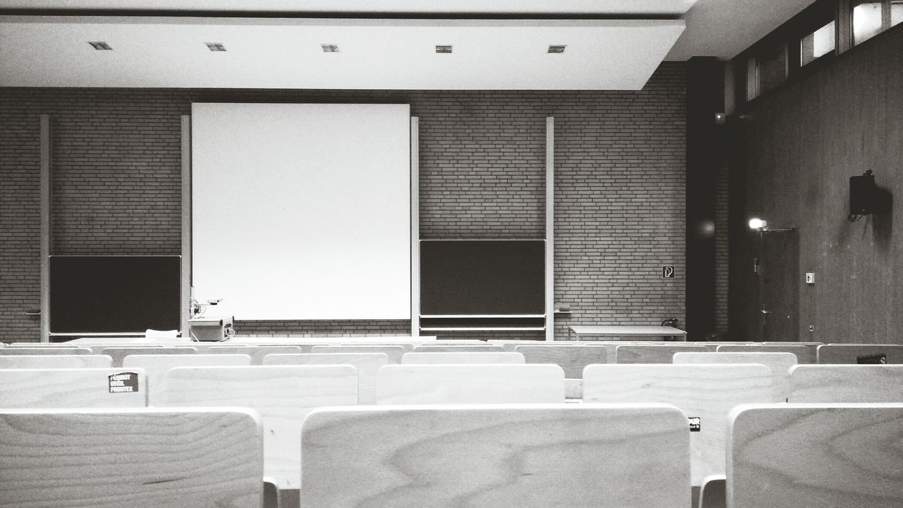 The Lecture Hall. · Hamburg Germany 040 Hh Universität Hamburg University Campus Seats No People Blackandwhite Black And White Monochrome Symmetry Simplicity