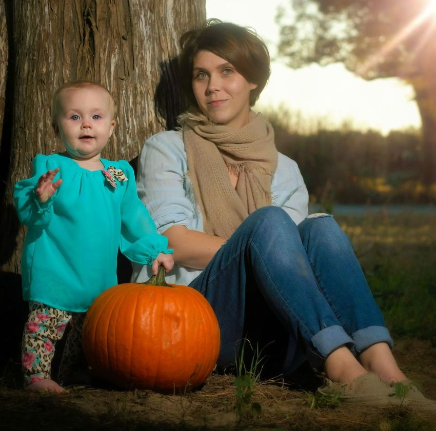 Pumpkin Halloween Autumn Sitting Togetherness Mother Full Length Lifestyles Baby Portrait Two People Jack O' Lantern People Food And Drink Happiness Outdoors Front View Friendship Adult Tree