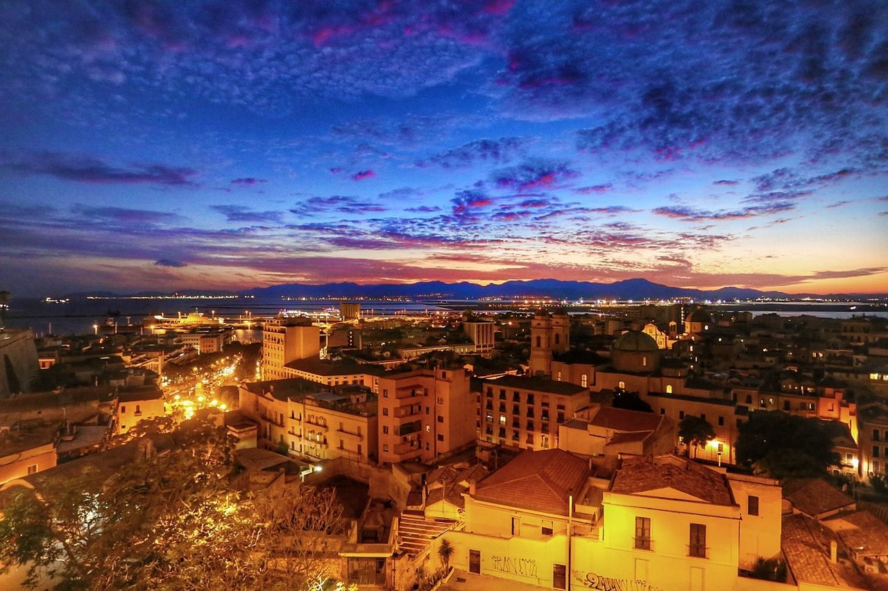 City Sky Urban Skyline Illuminated Cloud - Sky Sunset Cagliari Sardegnaofficial Blue Hour Street Light Cagliari Urban City Cagliari beautiful sky