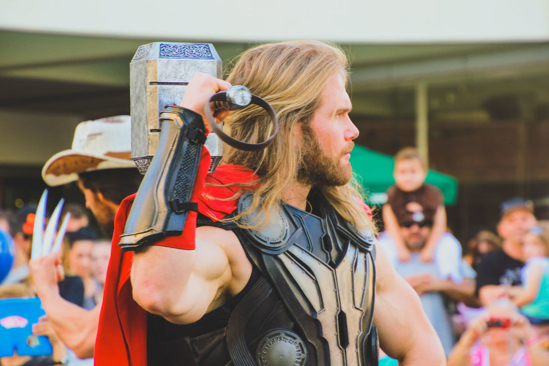 Arts Culture And Entertainment Blond Hair Close-up Cosplay Costume Fancy Dress Focus On Foreground Leisure Activity Lifestyles Marvel Marvellegends One Person Outdoors Performance Pop Culture Real People Standing Street Parade Street Photography Supanova Superhero Superheroes Thor  Thor The Dark World Young Adult The Portraitist - 2017 EyeEm Awards
