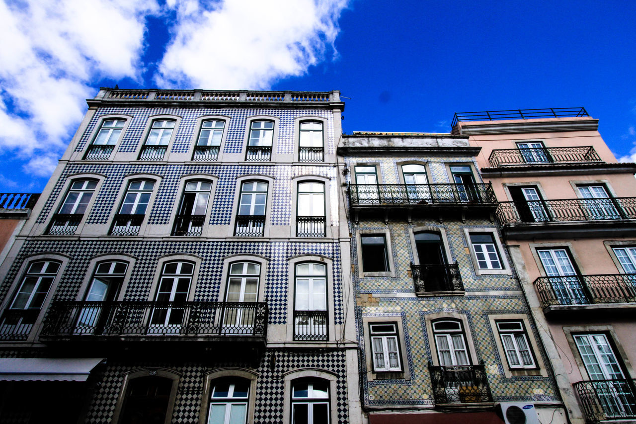 building exterior, architecture, low angle view, window, built structure, no people, outdoors, sky, day