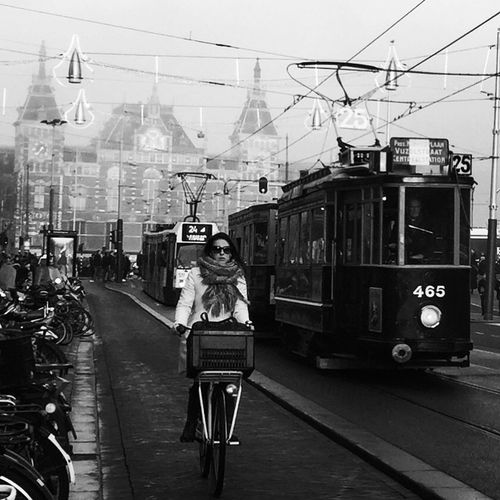 Central Estación Amsterdam Patricia Rodriguez Moreno Vatpwalk Vatpwalkphotography Amsterdam Transportation Mode Of Transport City Bicycle Street Land Vehicle City Life Real People Women Two People Architecture Built Structure Sky People Day