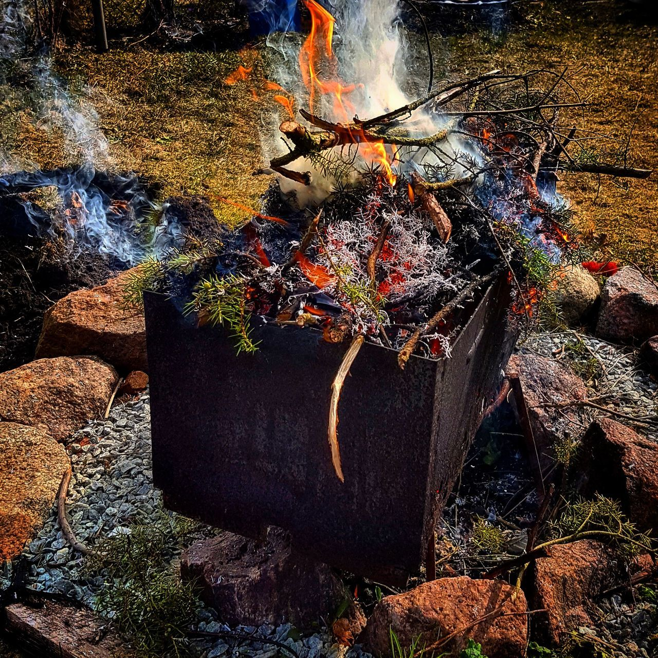 Fire Burning Wood Burning Branches Burning Wood Spring Colorful Nature Outdoor Camping