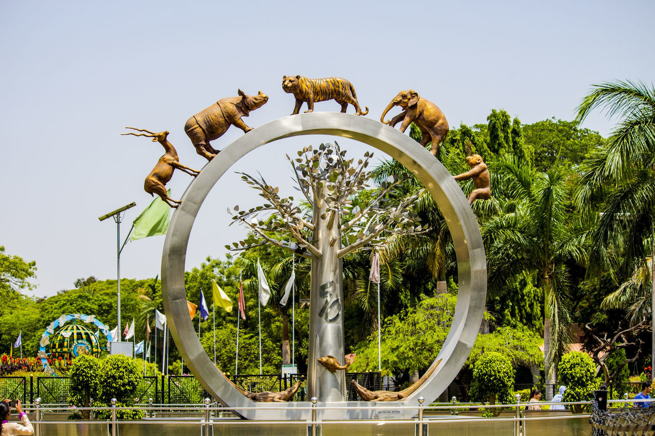 tree, circle, day, outdoors, palm tree, sky, low angle view, no people, growth, sculpture, clear sky, time, nature, clock, animal themes