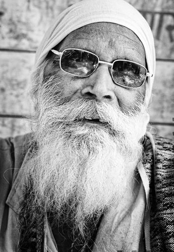 cool Yogi Sunglasses Beard White Beard One Person Real People Senior Adult Portrait One Man Only Men Old Man Close-up Senior Men People Blackandwhite Black And White India