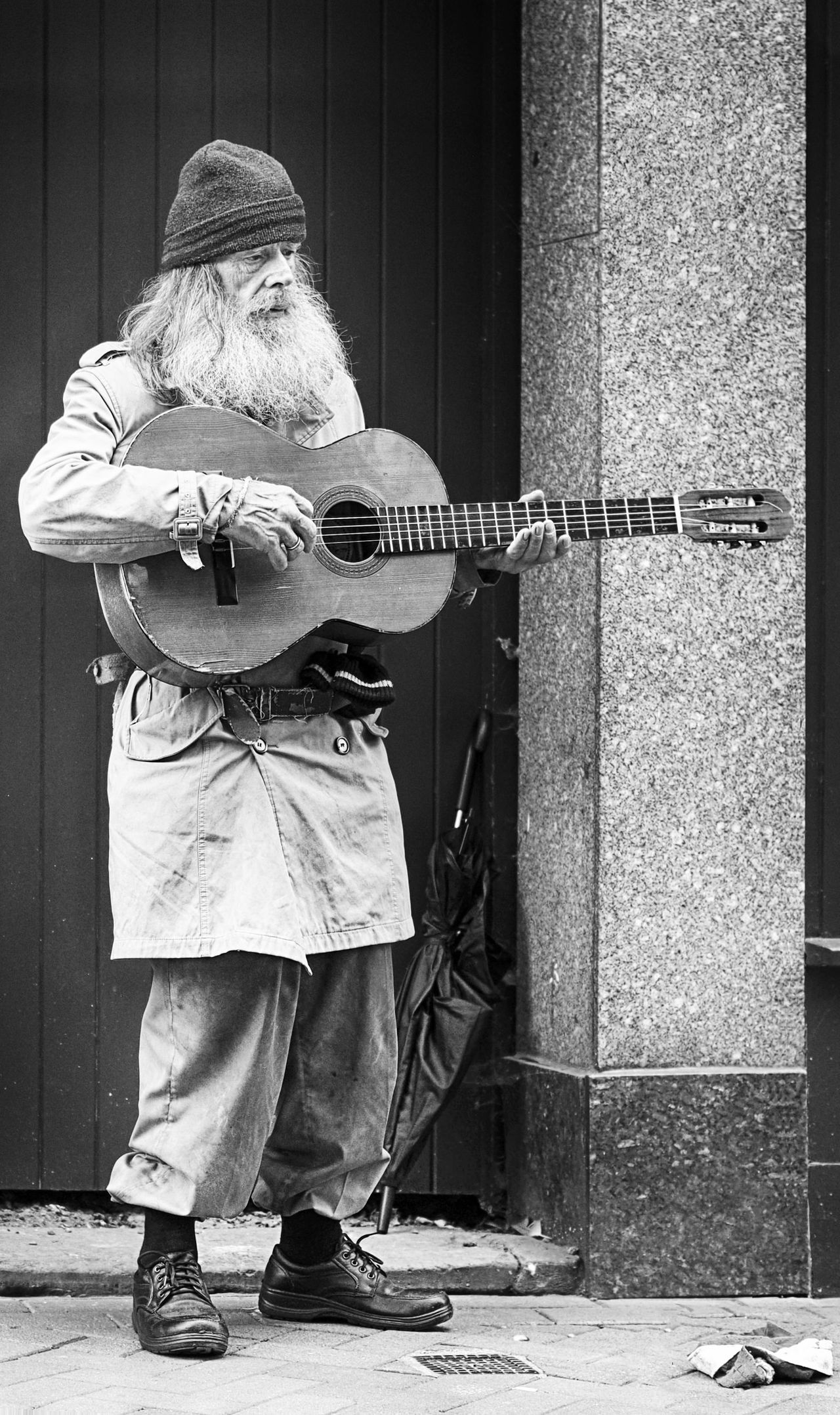 Beard Busker Busking Guitar Hat Musician Outdoors Player Poverty Rags Shop Doorway Street Photography Tatters