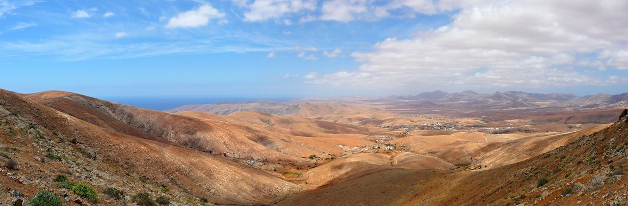 Arid Climate Arid Landscape Canary Islands Fuerteventura Landscape Mountain No People Outdoors Panoramic Landscape Panoramic View Sky Tourism