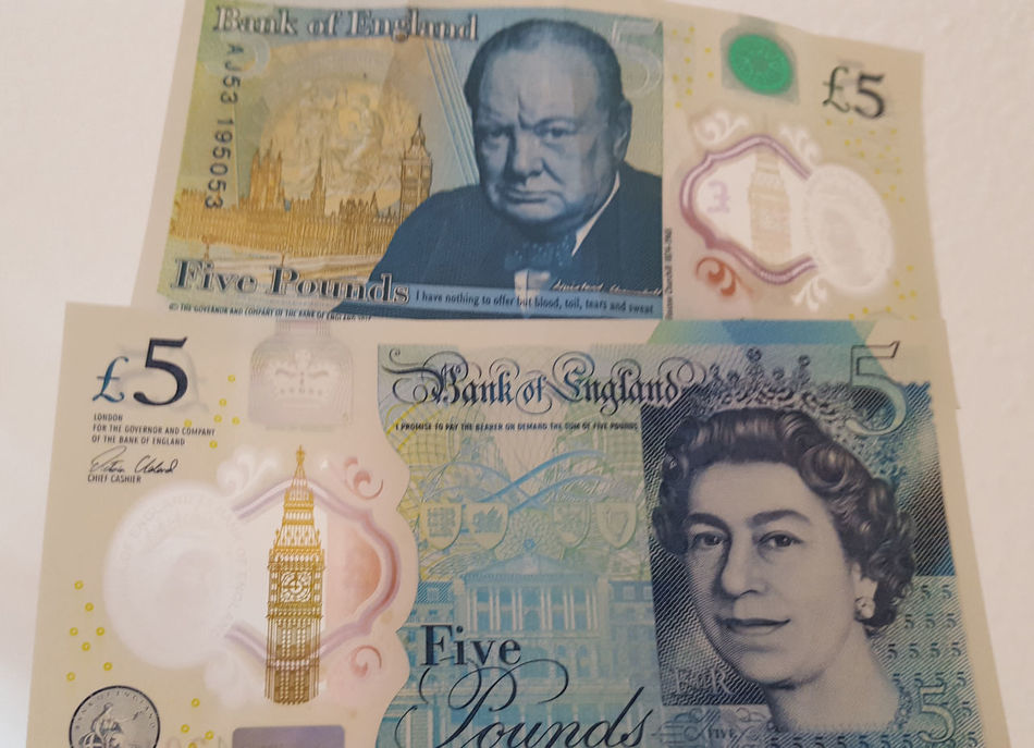 New Five Pound Notes. The Bank of England admitted that the new five pound notes contain animal fat, sparking something of an outrage among vociferous vegans and vegetarians on social media. According to a Bank of England reply to a tweet on 28th November, 2016 the new plastic fivers are made with a trace of tallow (Hi @Jools_Orca there is a trace of tallow in the polymer pallets used in the base substrate of the polymer £5 notes); a substance derived from boiled carcasses of animals and used in the making of many candles and soaps. The main components in rendered animal fats can also be found in thousands of other everyday products, including lipstick, plastic bags, cycle tyres, crayons, and latex condoms. The Royal Mint released the polymer note, featuring a portrait of Winston Churchill, on 13th September, 2016. While serial number AA01 000001 was given to The Queen, some of the other early serial numbers have already been offered online for hundreds, if not thousands, of pounds. Other eBay auctions have closed with less than the face value being paid. Designed to be cleaner, safer, stronger and flexible the new £5 polymer note is the first of the Bank of England's currency notes not to be printed on paper. For all their flexibility, the new fivers do bend and it is advisable not to fold them, says Bank of England governor Mark Carney, as it could damage the plastic. There was also an uproar when Sir Winston Churchill was chosen to be featured on the rear (replacing 19th-century welfare reformer Elizabeth Fry, one of only two women to appear on British currency not including the Queen of England) which just goes to show that you can't please everyone. I actually like the note and the printed Winston quote: 'I have nothing to offer but blood, toil, tears and sweat'. Polymer tenners are scheduled to be introduced in 2017, featuring Jane Austen (with the quote: 'I declare after all there is no enjoyment like reading'); and plastic twenties could be in circulation by