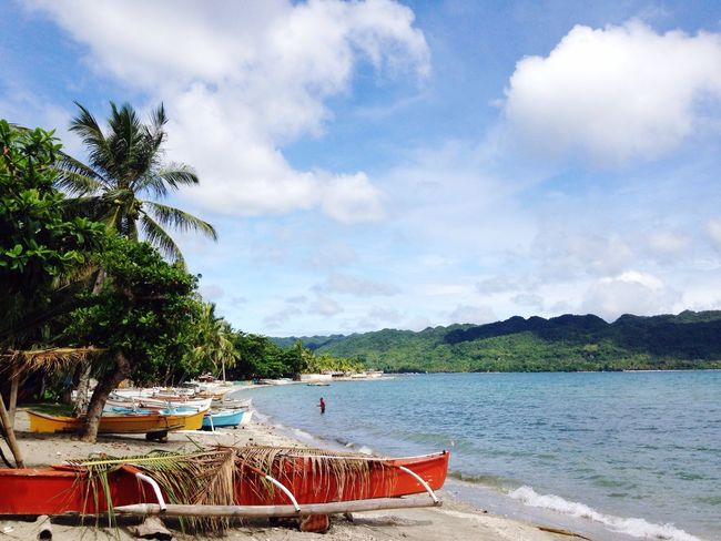 Summerbreeze Beach Clear Blue Sky Salt Water Summer Heat Boat Trees Mountains Clouds And Sky Enjoying Life Side Trip IPhone Photography