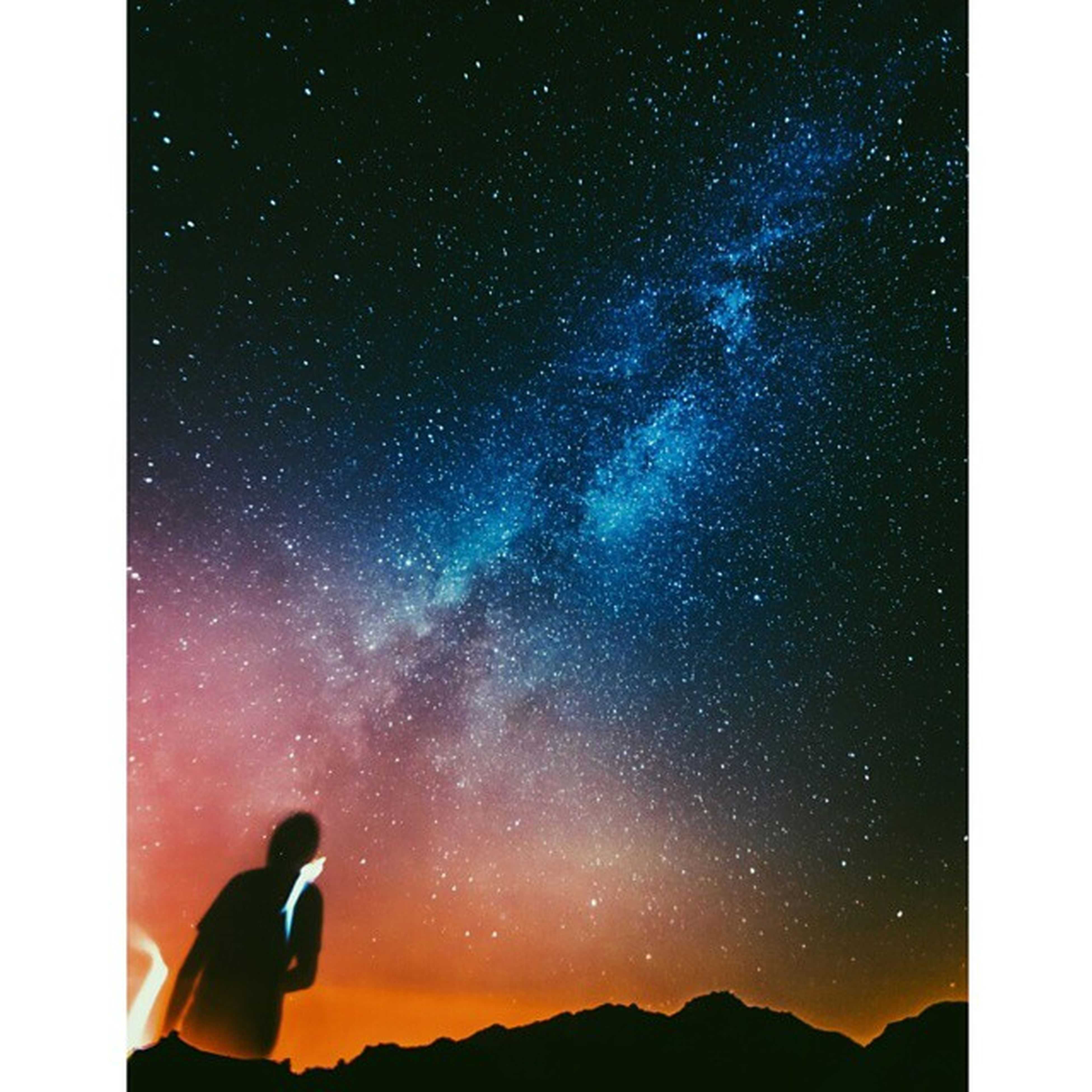 silhouette, transfer print, scenics, sky, tranquility, beauty in nature, tranquil scene, mountain, auto post production filter, night, nature, low angle view, idyllic, star - space, astronomy, exploration, star field, outdoors