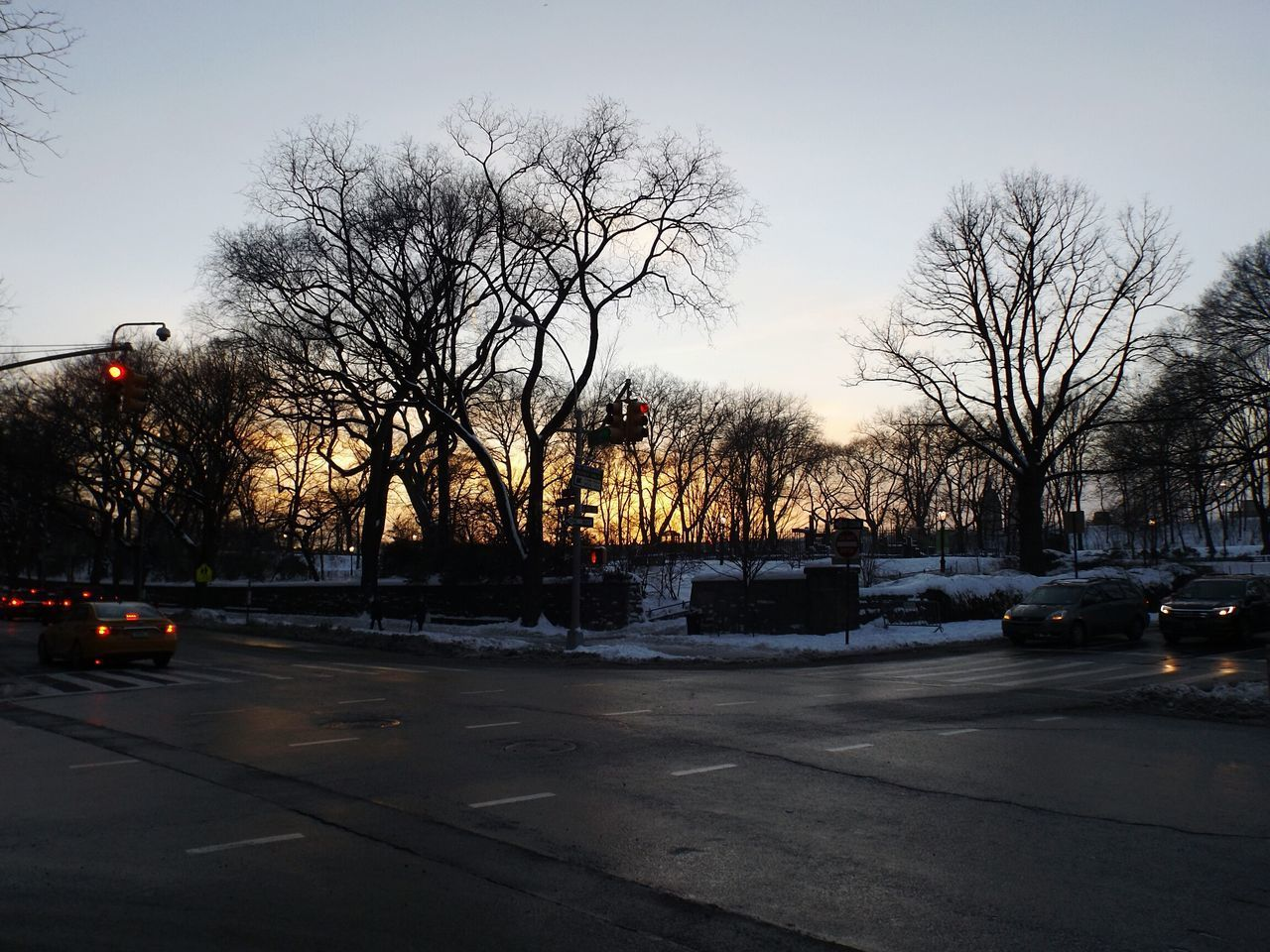It was really nice to enjoy the sunset at central park. Sunset Tree Car Transportation No People Land Vehicle Road Wet Sky Illuminated City Outdoors Nature Day Park Central Park New York City Crossroads Red Light Traffic Lights