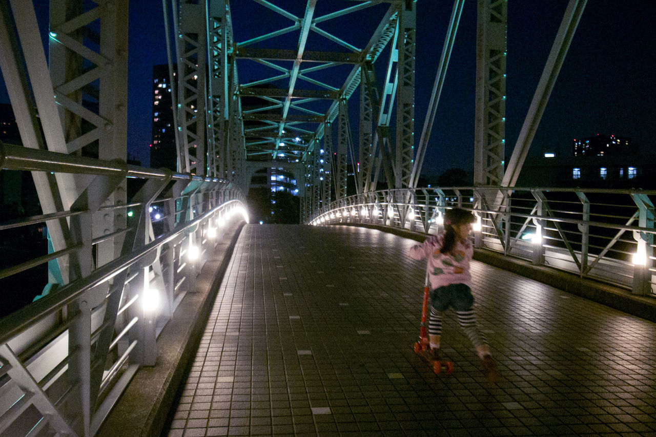 Architecture Bridge - Man Made Structure Illuminated Night Night Lights Nightphotography People Snapshot Streetphotography Child CityWalk The Street Photographer - 2017 EyeEm Awards Cityscape City Life Bridge Shinagawa 品川 , Tokyo Japan