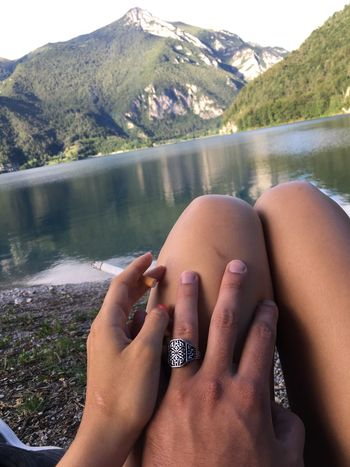 EyeEm Selects Water Lake Mountain Human Hand Human Body Part Nature One Person Day Outdoors Scenics Beauty In Nature Young Adult Adult People Adults Only