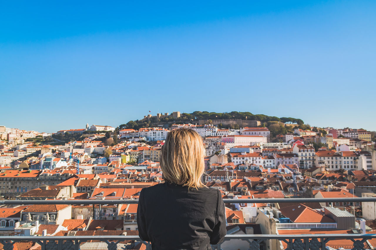 Architecture Building Exterior Building Terrace City Cityscape Clear Sky Elevator Lisbon Old Town Only Women Outdoors Palace Portugal Roof Sky Travel Destinations View From Above