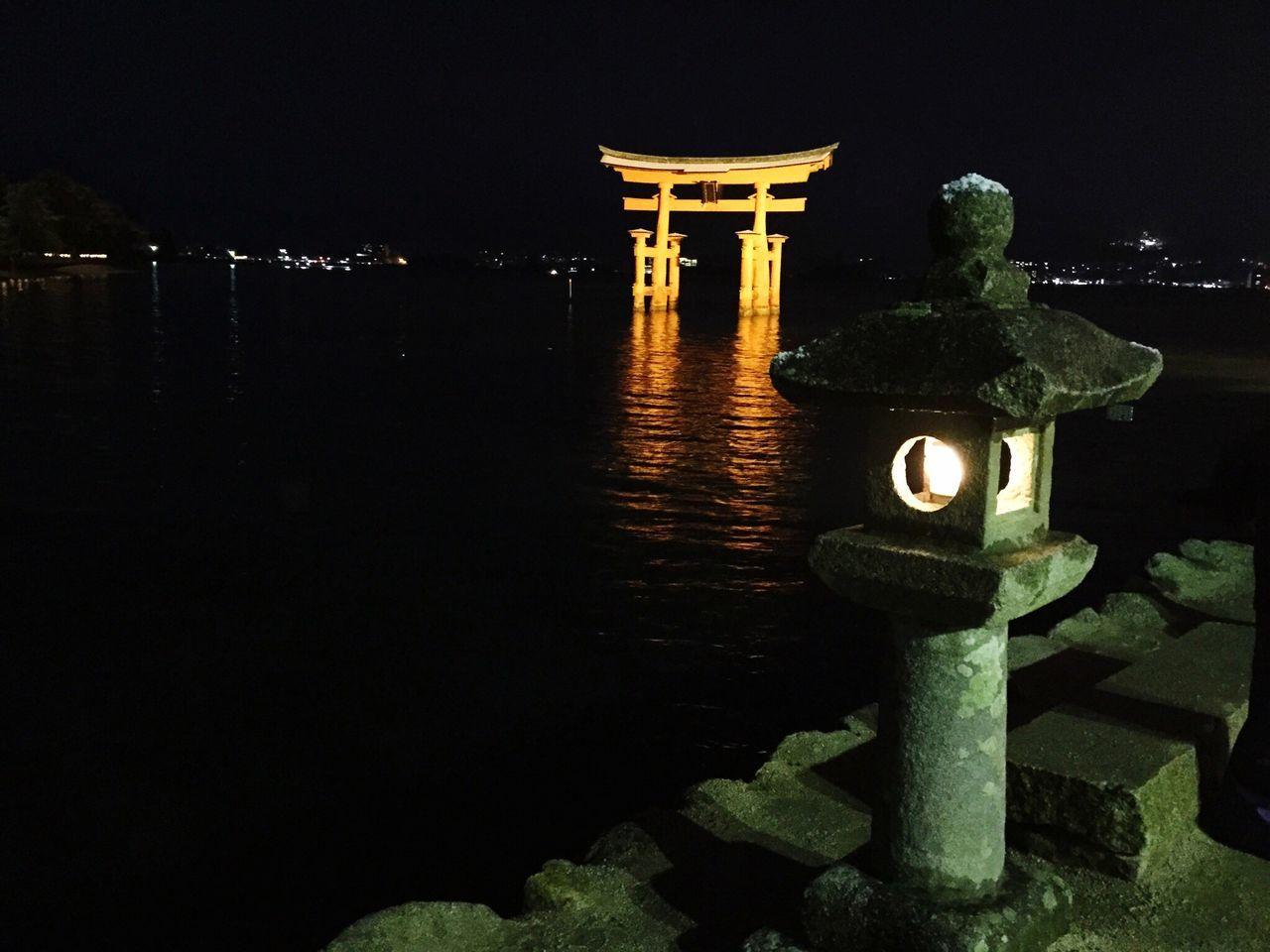 Water Place Of Worship Cultures Night Outdoors No People Sea Built Structure Illuminated Statue Itsukushima Shrine Japanese Shrine Miyajima Hiroshima