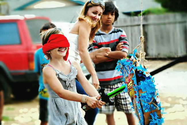 Outdoors Child Person Adult Friendship People Happiness Togetherness Young Adult Young Women Bonding Group Of People Day Smiling Piñata Tradition Birthday Birthdaycelebration  Children