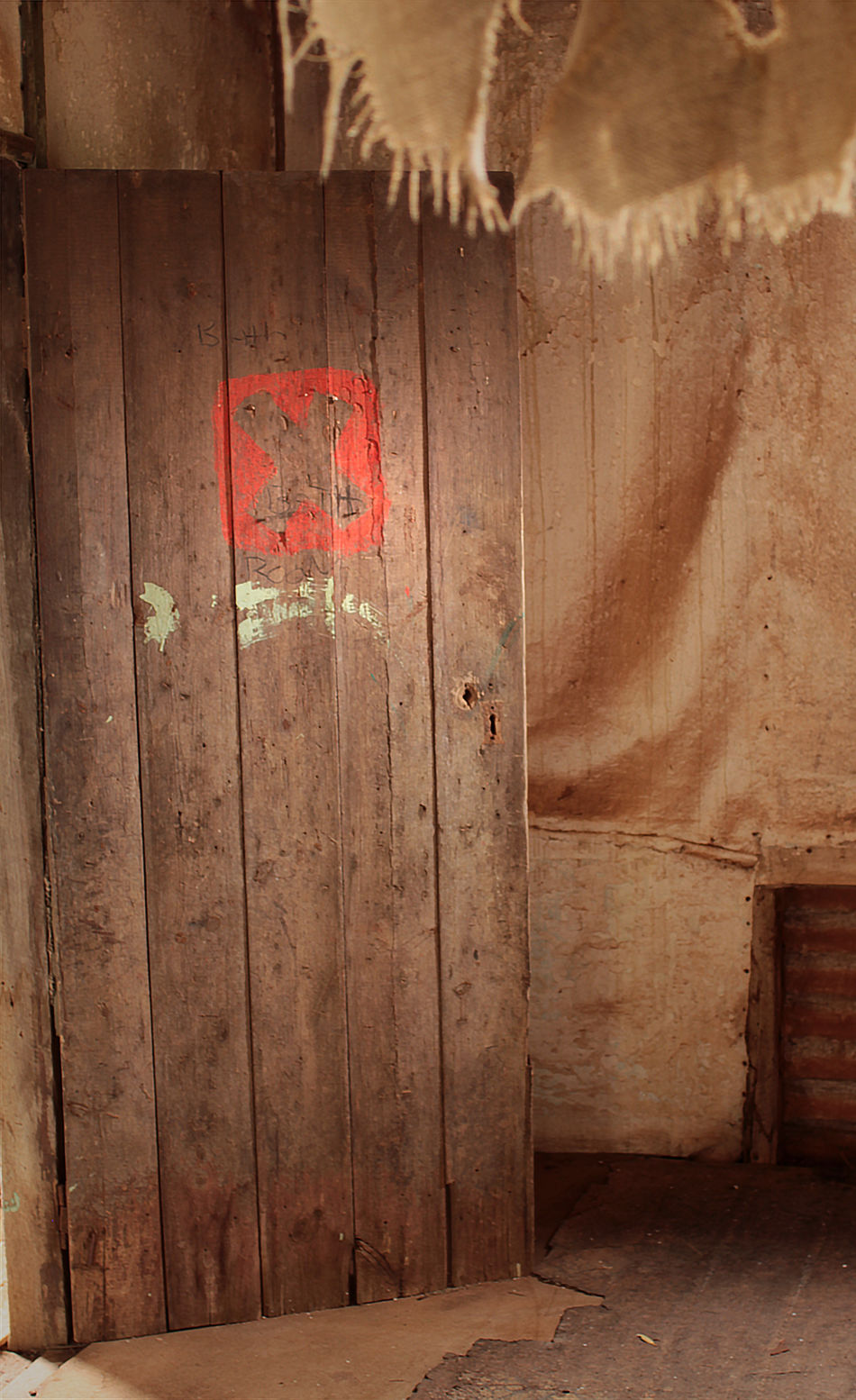 Abandoned Abandoned & Derelict Abandoned Buildings Abandoned Places Architecture Built Structure Cross Door Hessian Indoors  No People Red Cross Wood - Material Wooden Door