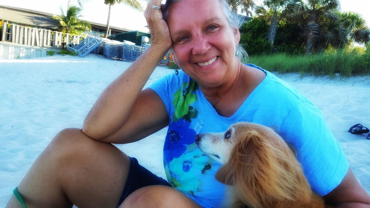Kathy And Jack on our 20th anniversary Holiday at Costa D' Este Vero Beach, Florida At The Beach Pets Beautiful Smile A Dog's Devotion happy anniversary Kath