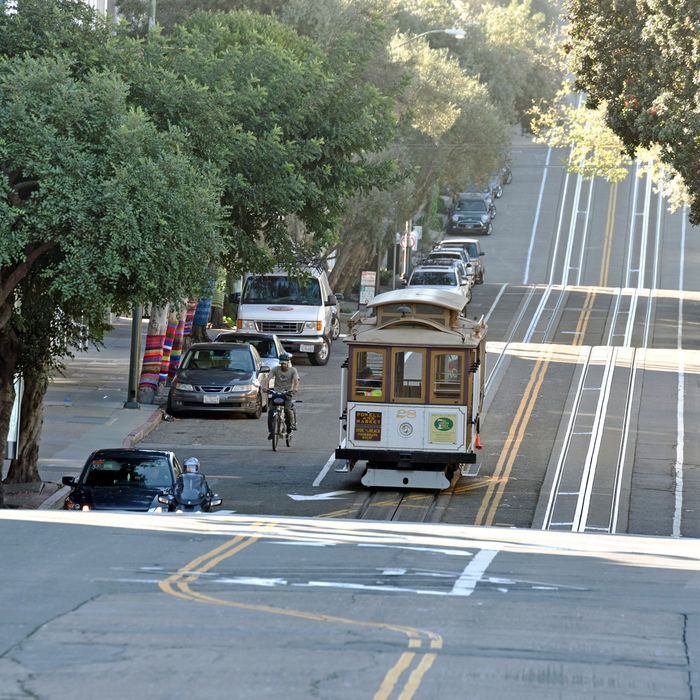 Cable Cars_San Francisco 3 Powell / Hyde Cable Car San Francisco Bay Scenic Historic Tourism Hyde St. Beach St. Hyde St Hill San Francisco Municipal Railway Cable Car Inventor: Andrew Hallidie 1873
