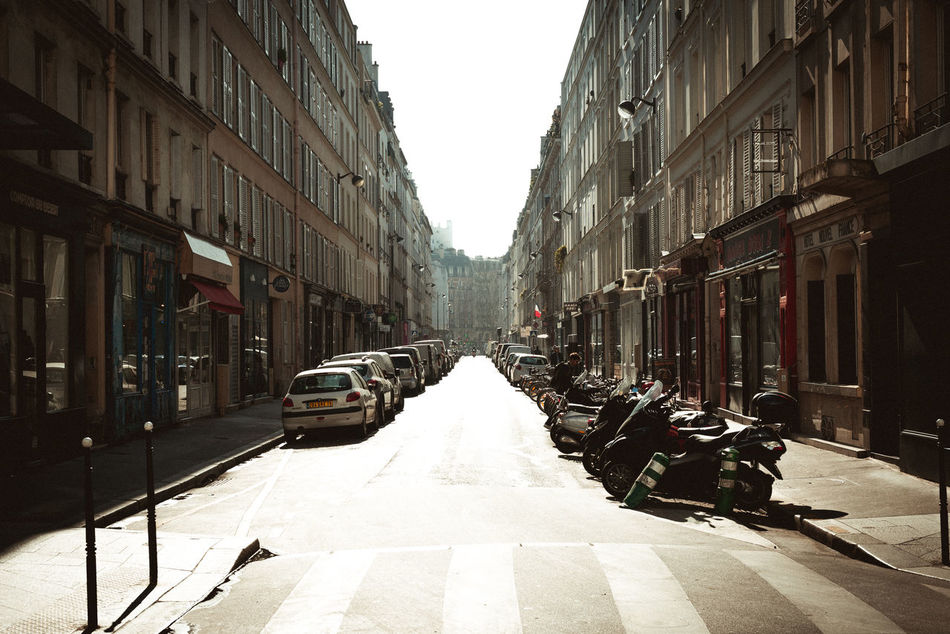 parisian alleyway. Alley Alleyway Architecture Building Exterior Built Structure City Day France Landscape No People Outdoors Paris Sky Street The Way Forward Transportation