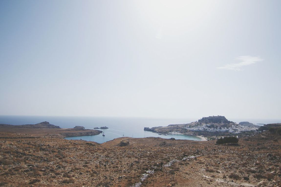 Rhodesian skyline. Sea Beach Horizon Over Water Sky Nature Tranquility Water Scenics Tranquil Scene Outdoors No People Day Beauty In Nature Landscape Lindos Greece My Year My View