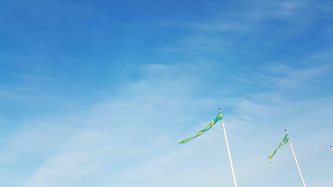 Flying high Flags Swedishflag Outdoors Bluesky Sky Low Angle View