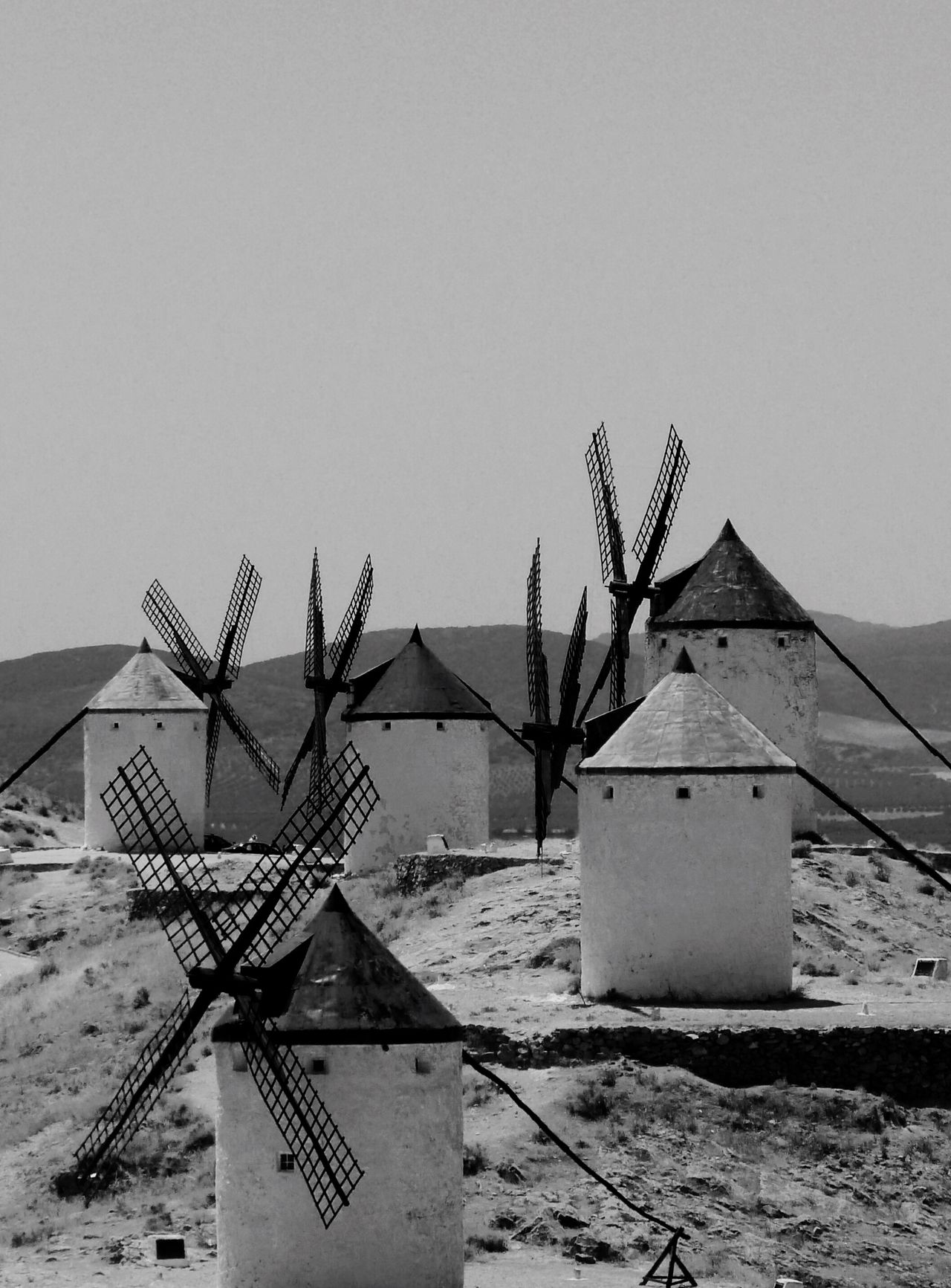 Renewable Energy Architecture No People Outdoors Windmills Consuegra Spain La Mancha Black And White Don Quixote Land Symbols Of Spain Old World Old Castile CastillaLaMancha Medieval Structures