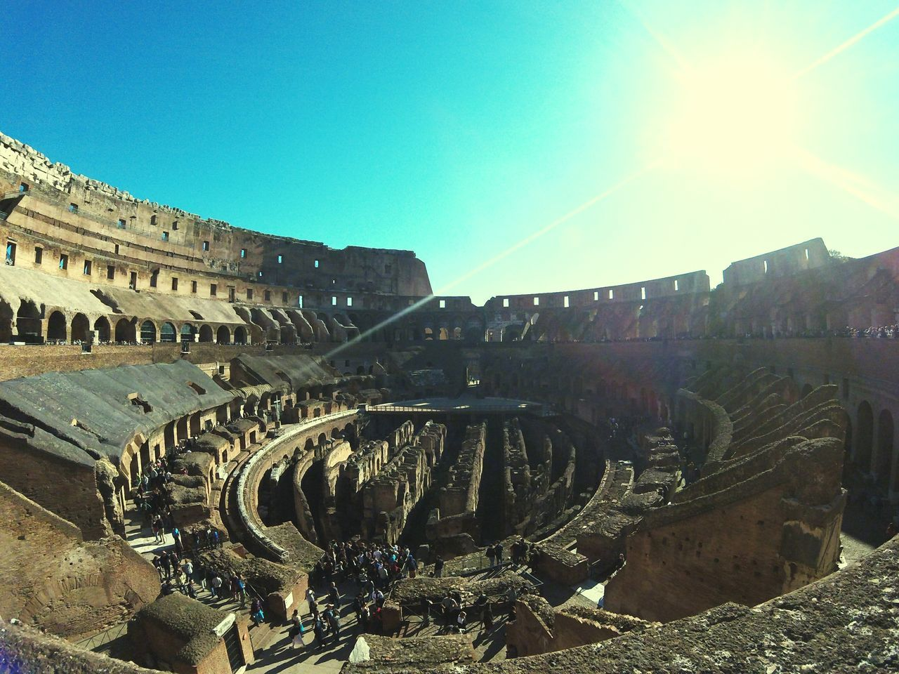 Miles Away Blue Sky Architecture Monument Coliseum Roma Coliseo Romano Travel Destinations Textured  Turism Italy🇮🇹 Day