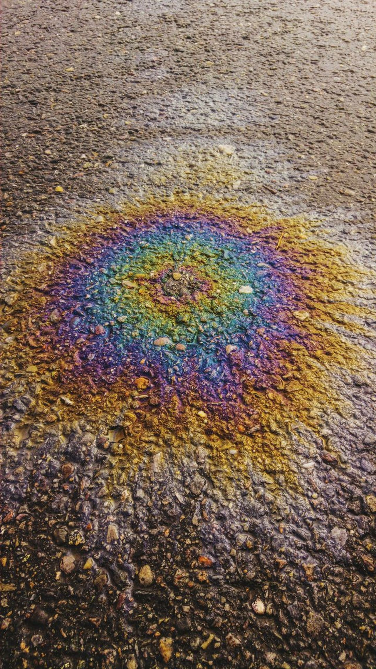 Oilsick Oil Spill Pollution Gasoline Multi Colored Road No People Oil Industry Close-up Accidental Art Rainbow Spectrum