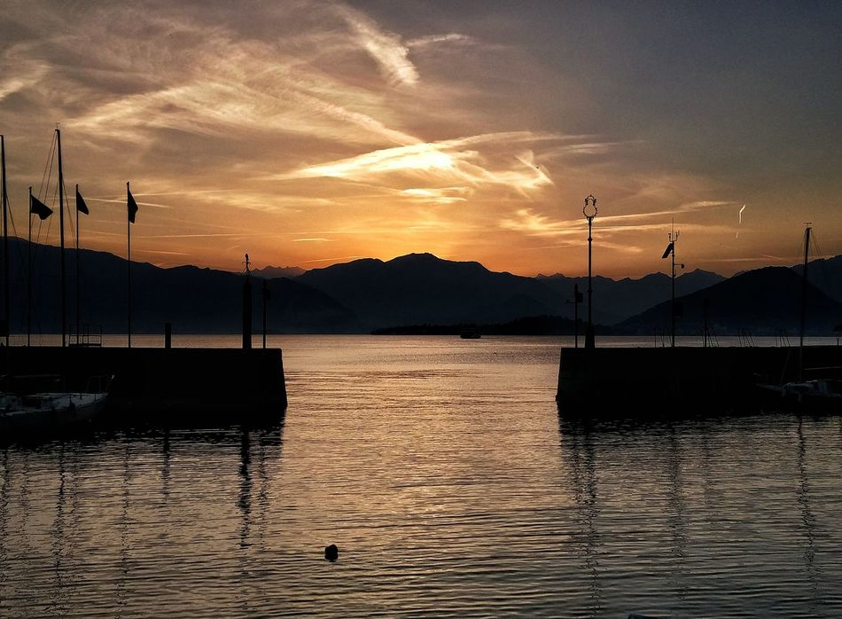 Sunset Mountain Silhouette Sky Cloud - Sky No People Tranquility Water Nature Scenics Outdoors Beauty In Nature Day Laveno Varesetheplacetobe Lagomaggiore Laveno Mombello Tramonti_italiani Italy