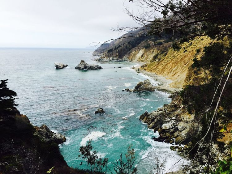 Water Sea Nature Scenics Beauty In Nature Rock - Object Rock Tranquility Tranquil Scene No People Day Outdoors Sky Cliff Horizon Over Water Big Sur Big Sur CALIFORNIA California