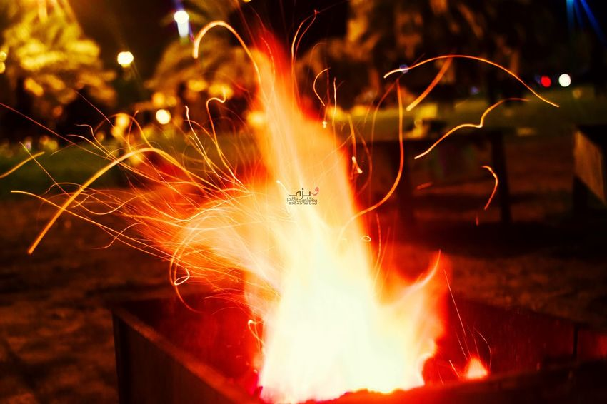 Fire Illuminated Nature Close-up No People Motion Long Exposure Night Heat - Temperature Flame Glowing Burning