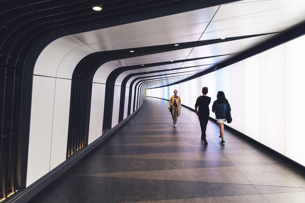 Tunnel Vision Adult Business City Futuristic Indoors  London Modern People Travel Tunnel Walking
