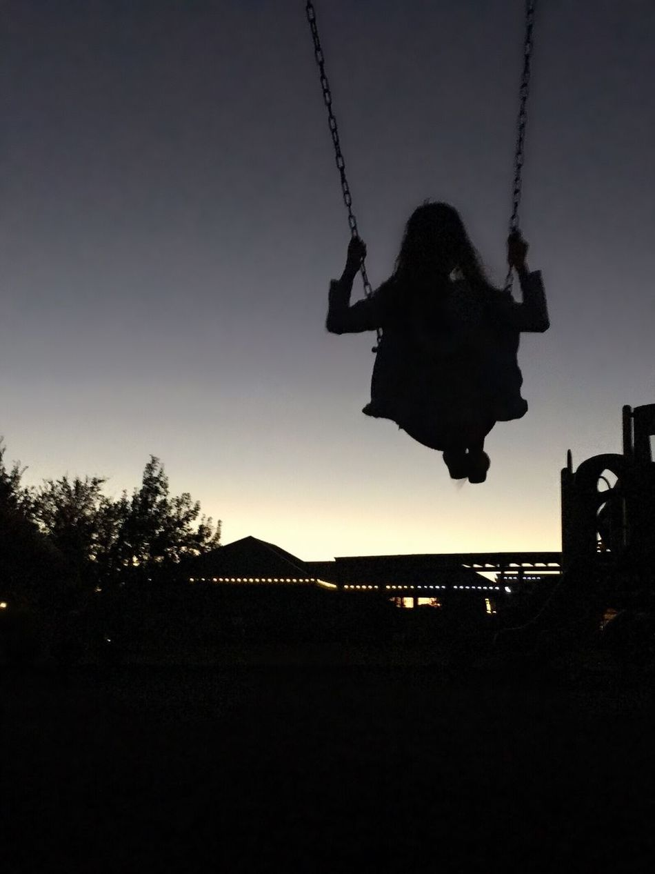 Silhouette Swing Sunset Sky Real People Dusk Leisure Activity Lifestyles Outdoors Tree One Person Amusement Park Low Angle View Chain Swing Ride Blackandwhite Black And White Blackandwhite Photography Black And White Photography Black & White Swingset Kid Kids Kids Being Kids Night Nightphotography