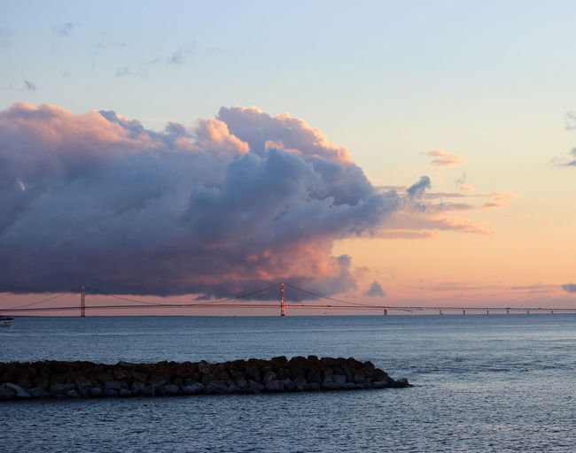 Beauty In Nature Cloud - Sky Cloudy Coastline Mackinac Bridge Northern Michigan Sunset Outdoors Sunset Tranquil Scene