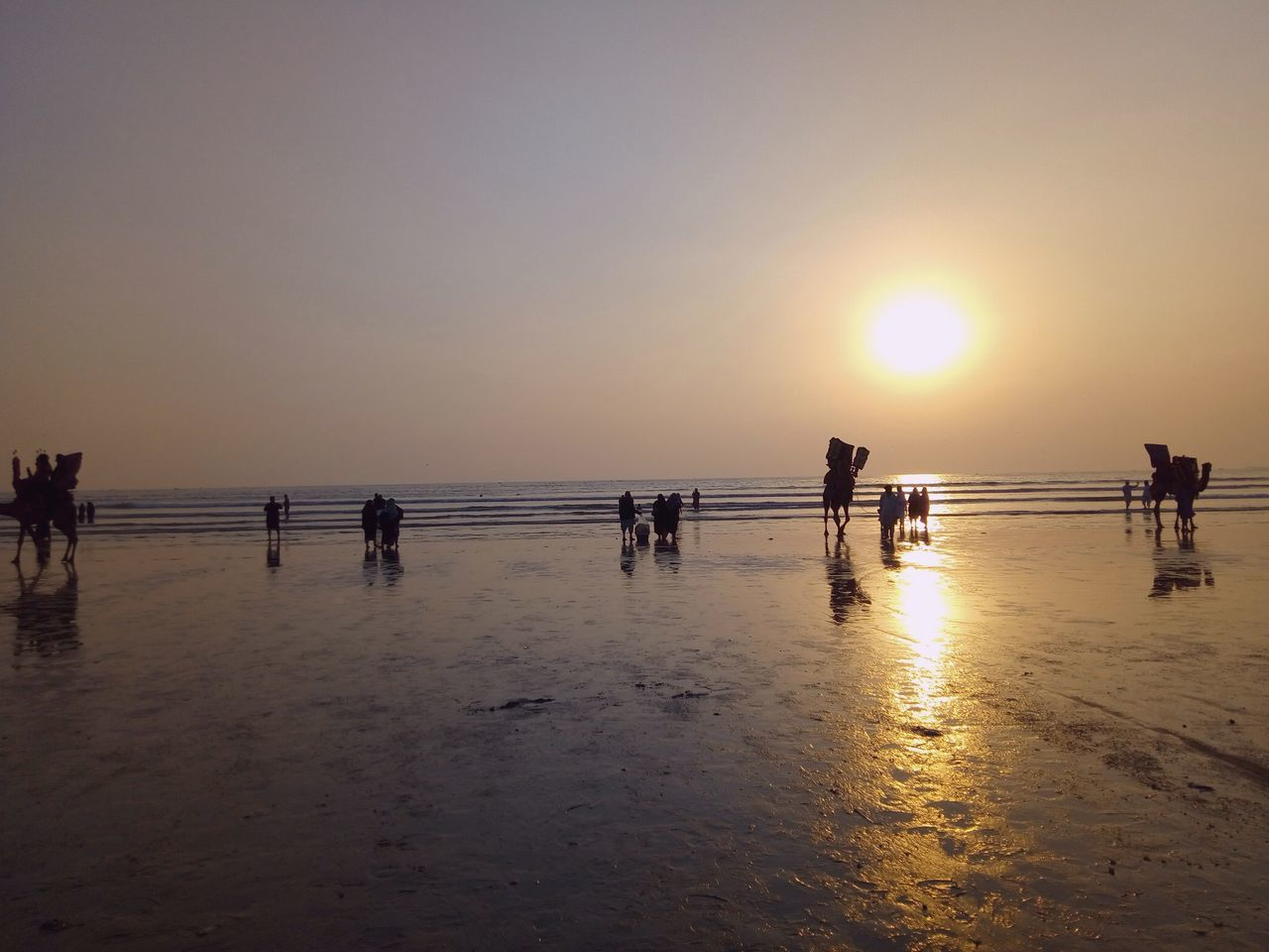 Sea Beach Sunset Silhouette Beauty In Nature Vacations Karachi Finding New Frontiers