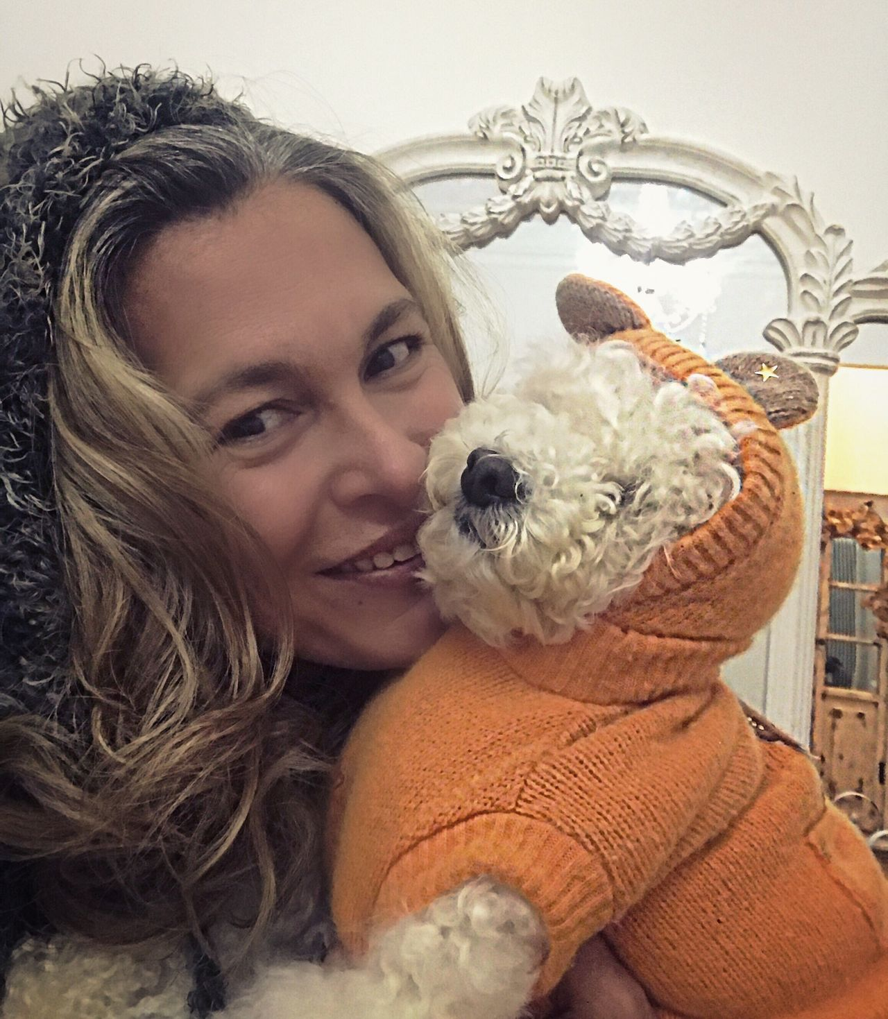 Looking At Camera Portrait Smiling Stuffed Toy Teddy Bear Headshot One Animal Young Women Happiness Pets Poodle Dressed Animal Themes Unconditional Love Kiss Hug Togetherness Loyalty Love