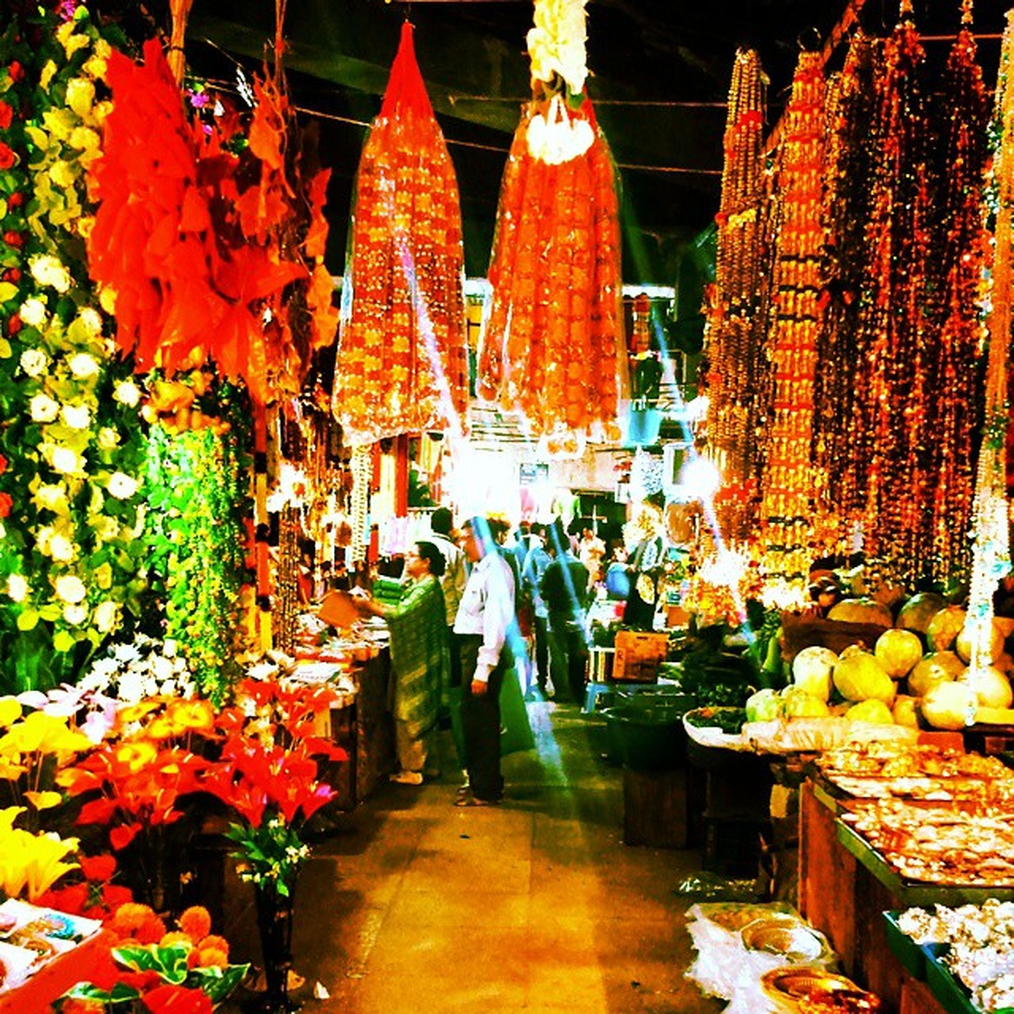 Market Shopping Bright Kevlin vibrant complex colour colourful colours hangings