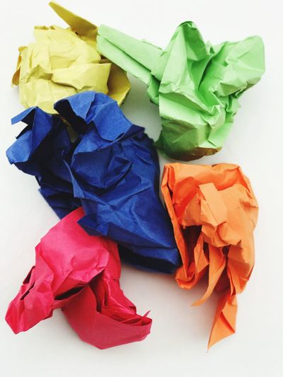 Colorful wads of paper Random Photography Colorful Color Image Rainbow Colors Wadded Up Paper Wads Of Paper Primary Colors New To EyeEm NewToEyeEm Colors Day Close-up Indoors  No People Studio Shot Multi Colored White Background Still Life Crumpled Paper Paper Crumpled