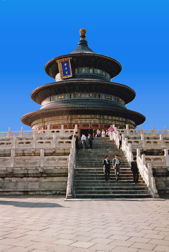 Temple of Heaven - Beijing, China Architecture Real People Sky Blue Spirituality Travel Tourism Day History Outdoors Ancient Steps Clear Sky Dome Temple Of Heaven A Taste Of China Place Of Worship Travel Destinations Ancient Civilization Steps And Staircases Building Exterior Built Structure Beijing China An Eye For Travel