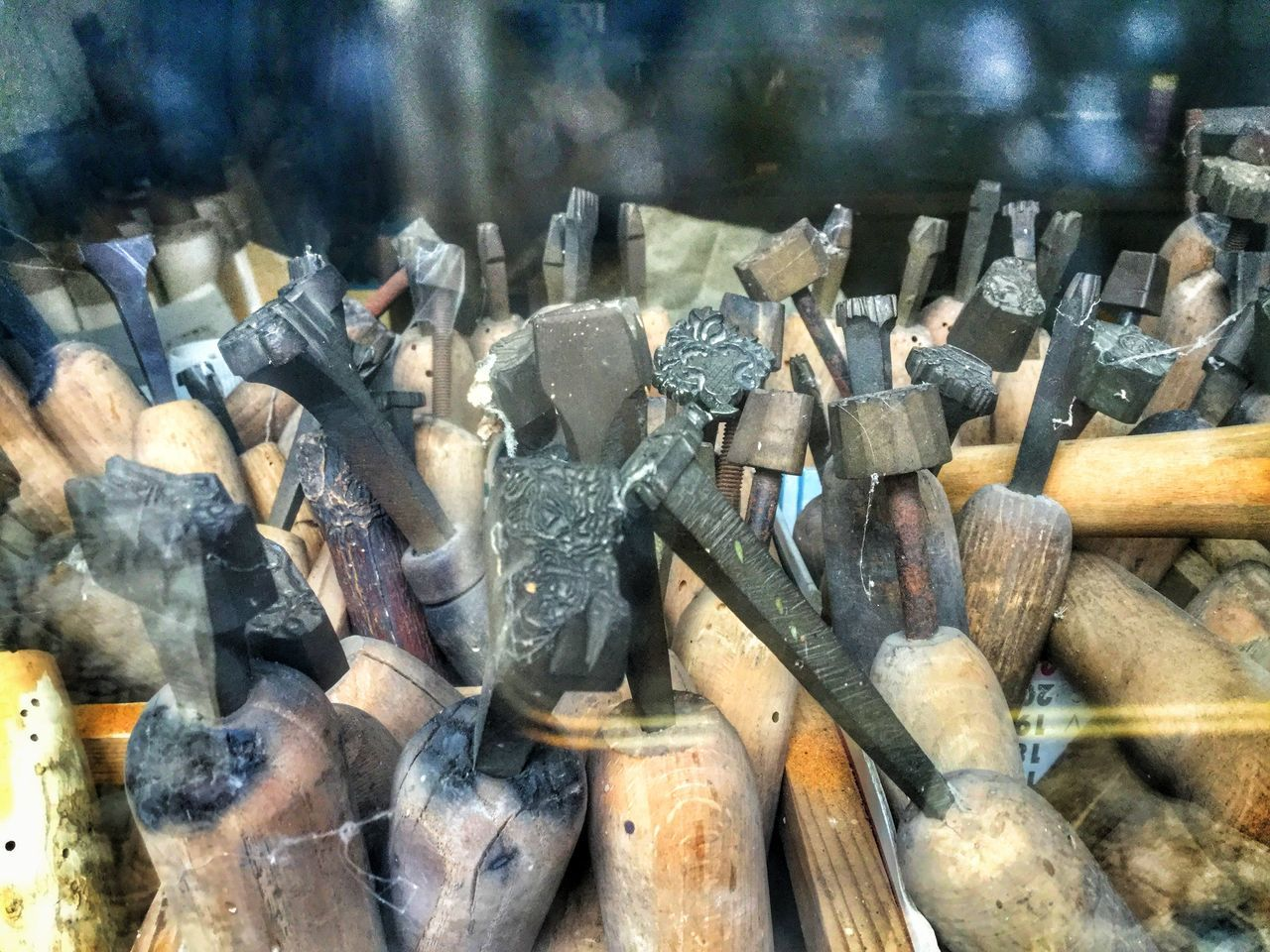 no people, work tool, large group of objects, indoors, close-up, day, metal industry, axe