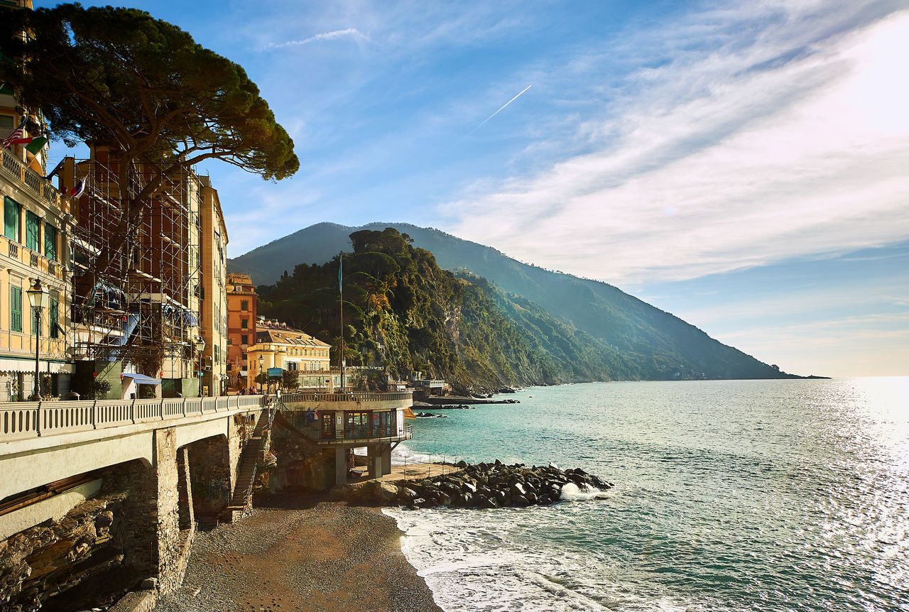 Coast of Liguria. Italian Riviera Beach Cloud - Sky Day Europe Genoa Genova Idyllic Italian Riviera Italy Lagoon Landscape Liguria,Italy Mediterranean Sea Mountain Outdoors Scenery Seaside Sun Tourist Resort Travel Destinations Village Water Waterfront