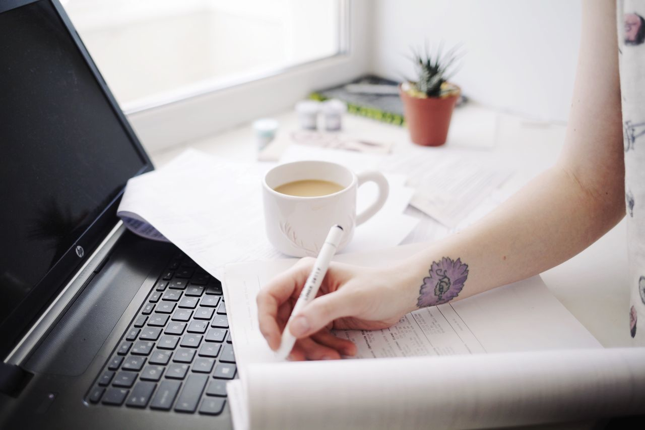 Paperwork Paper Coffee Cup Coffee Time Coffee Computer Keyboard Computer Technology Working Study Studying Student