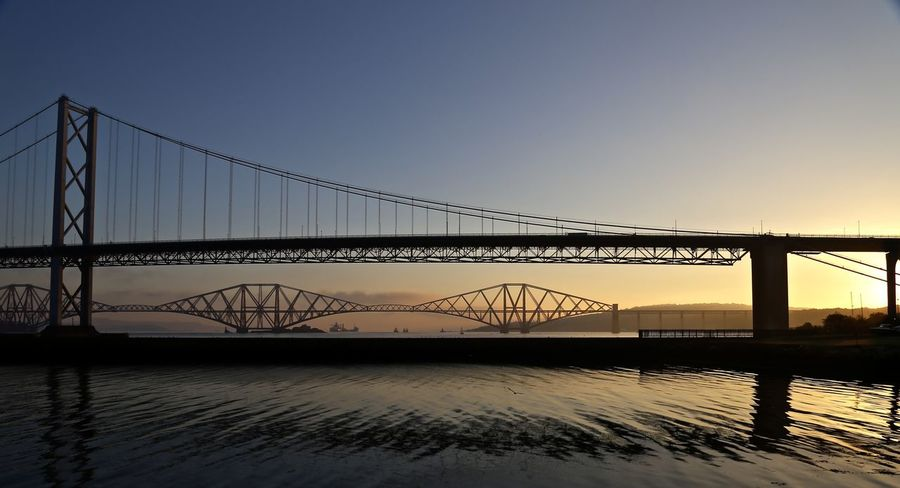 Road and Rail bridges Bridge - Man Made Structure Bridges Built Structure Engineering International Landmark Outdoors Silhouette Sky And Sea Structure Sunrise