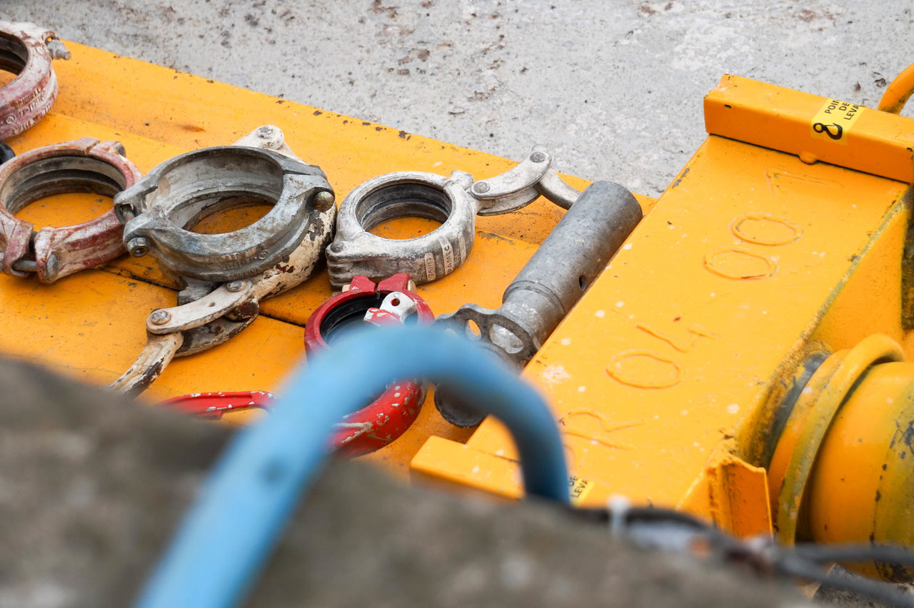 Construction Work Site Blue Tools Yellow
