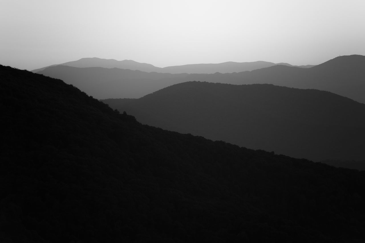 Appalachian Mountains Beauty In Nature Black & White Clear Sky CutOut Day Grey Landscape Layers Mountain Mountain Range Nature No People Outdoors Scenics Shenandoah National Park Silhouette Sky Tranquil Scene Tranquility