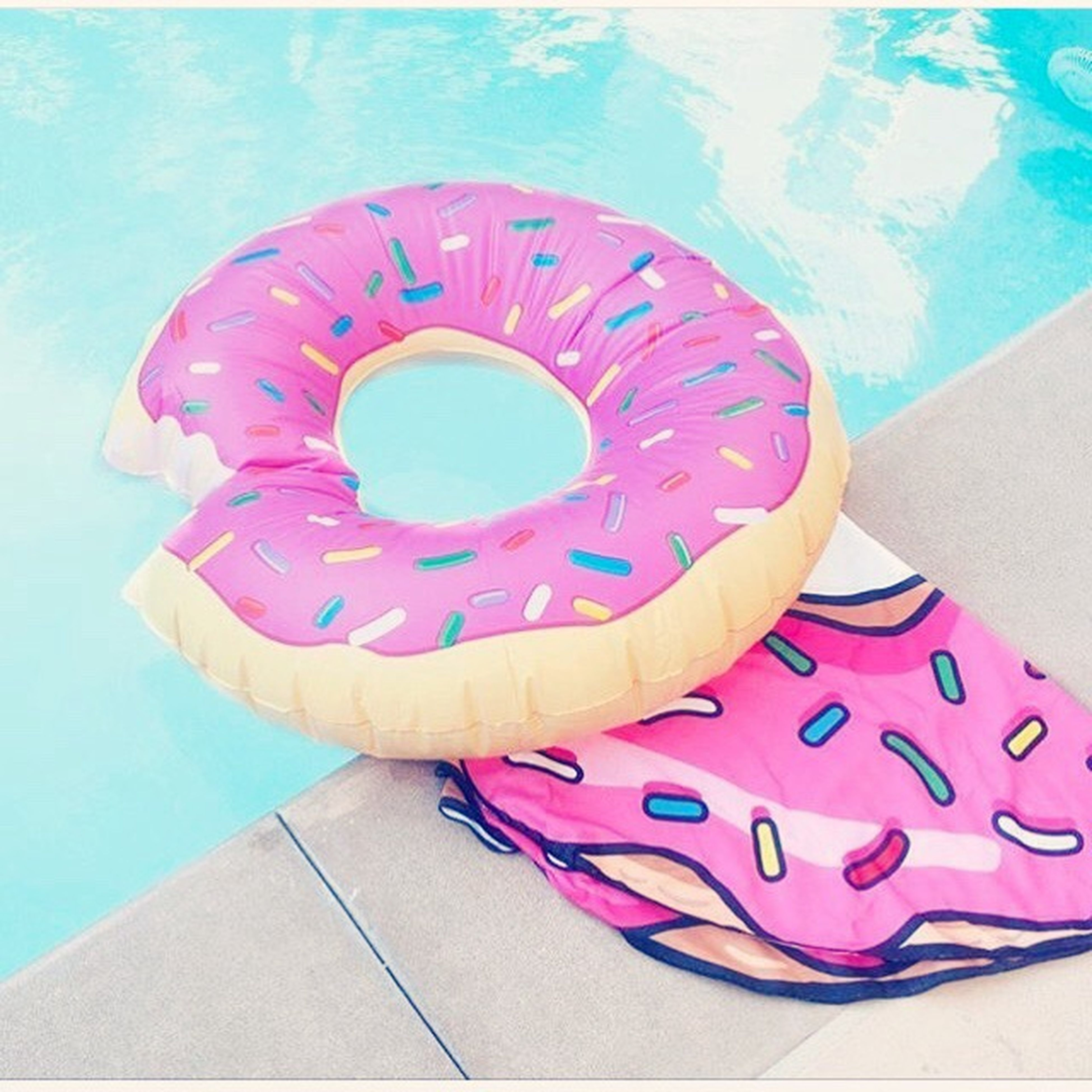 high angle view, directly above, water, swimming pool, pink color, blue, pool