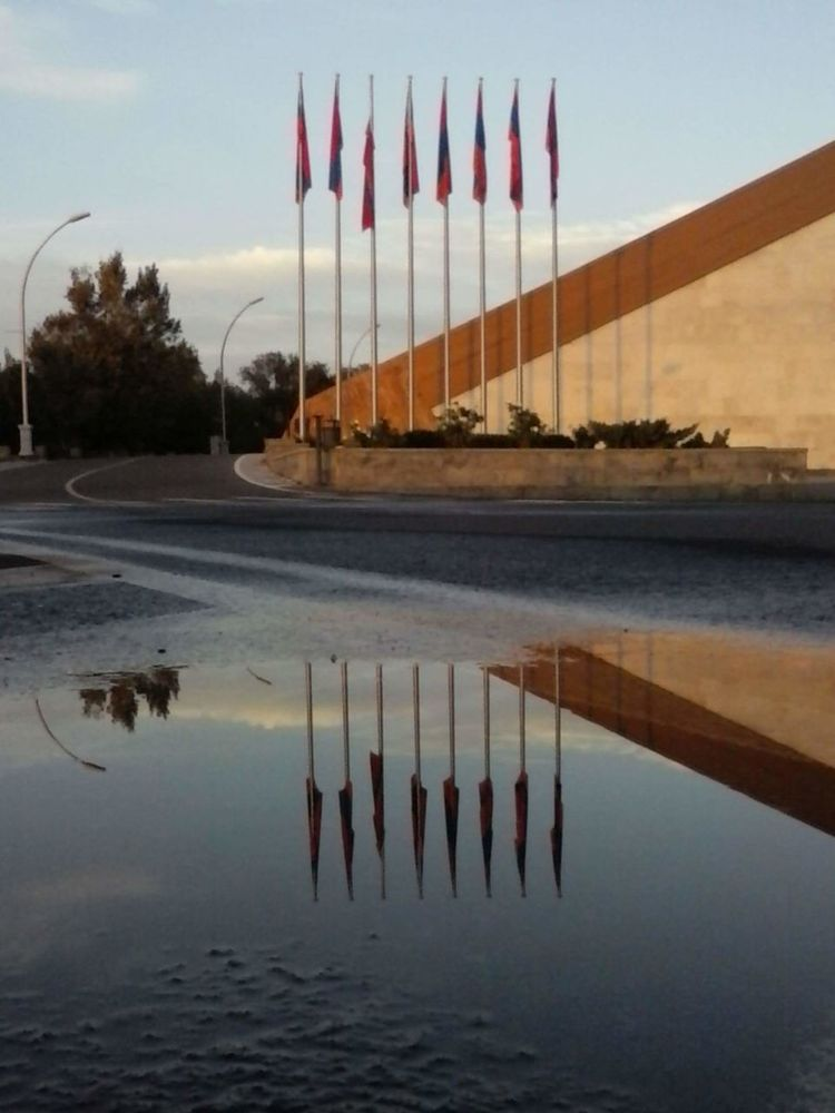 Water Sky Reflection Waterfront No People Cloud - Sky Nature Beauty In Nature Yerevan Flag Armenian Flag Puddle Puddle Reflections