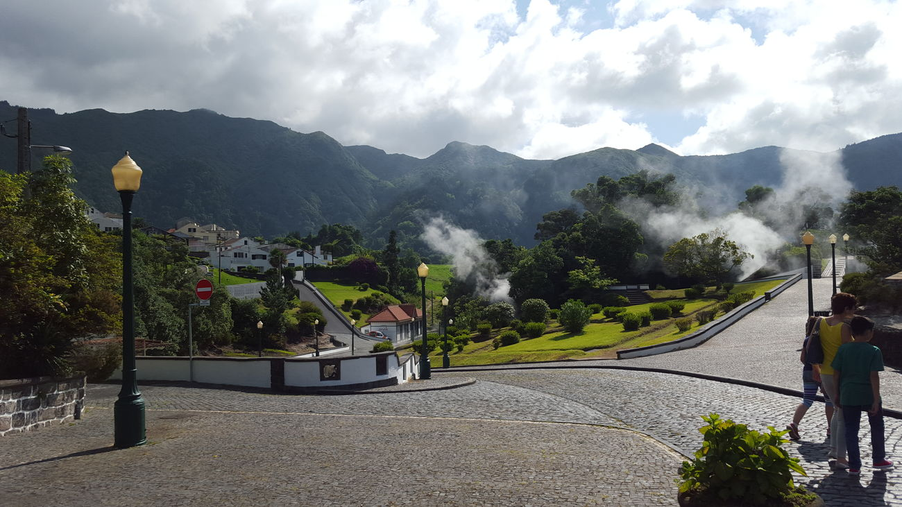 Architecture Azores Beauty In Nature Cloud - Sky Coulds And Sky Day Furnas Gas Gaser Green Hot Lamp Methane Mountain Nature No People Outdoors People Sky Tree Vapor Adapted To The City
