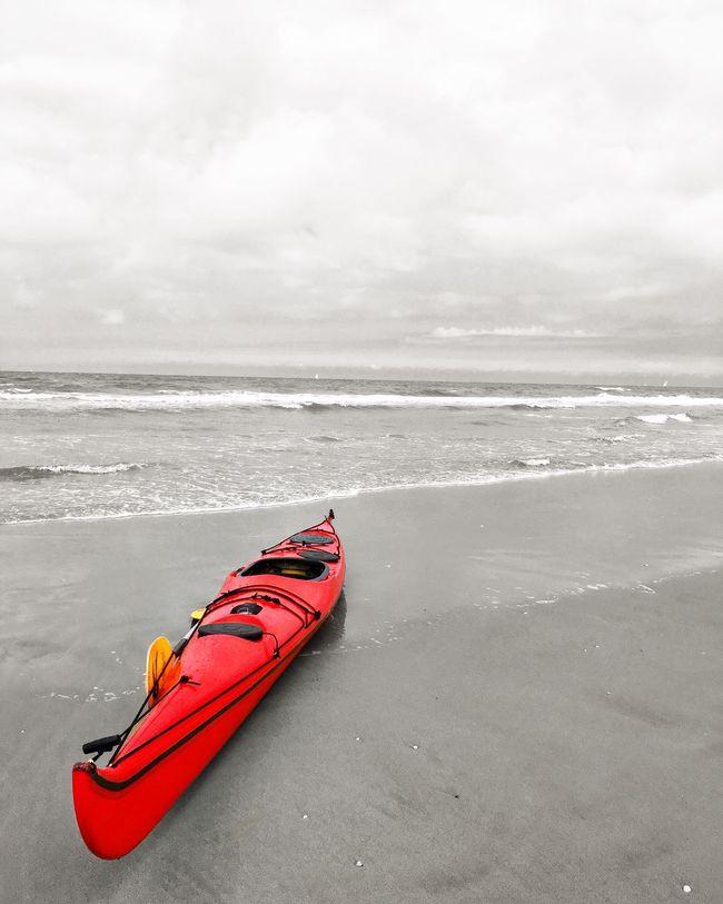 Showcase July ShotOnIphone IPhoneography Shotoniphone6splus Red Blackandwhite Monochrome Kayak Travel Wanderlust IJmuiden Netherlands Beach Sand Waves